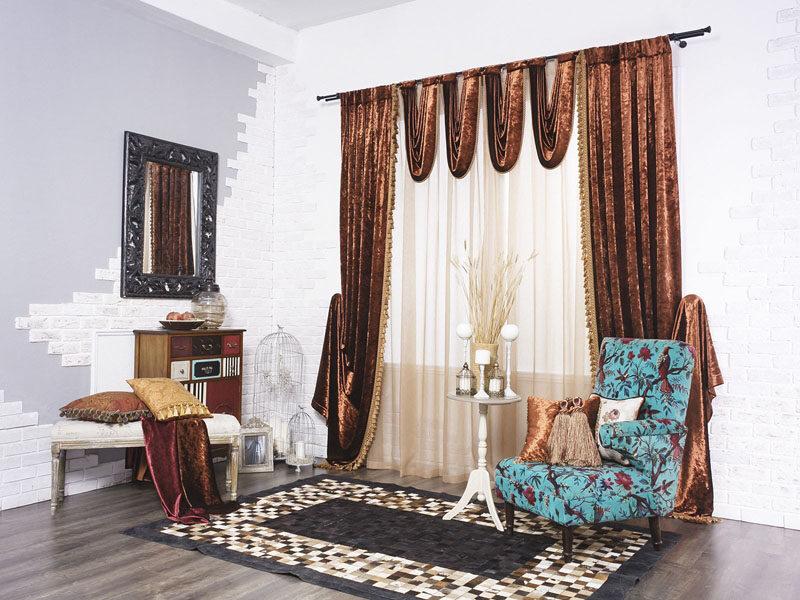 Изысканные и красивые бархатные шторы в интерьере